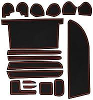 KINMEI(キンメイ) トヨタ ノア NOAH 80系 専用設計 赤 インテリア ドアポケット マット ドリンクホルダー 滑り止め ノンスリップ 収納スペース保護 ゴムマット TOYOTAnoa-r