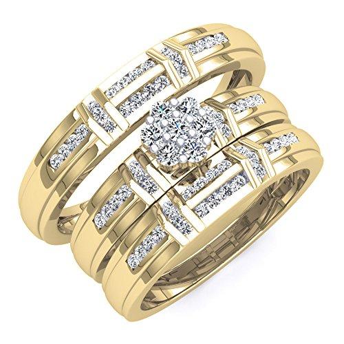 0,50Carat (quilate) 18K amarillo oro blanco diamante hombres y mujeres del anillo de compromiso trío de novia SET 1/2CT