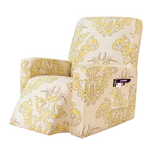 subrtex Printed Recliner Chair Slipcover Stretch Lazy Boy Leather Furniture Protector Rocker Sofa Cover with Side Pocket (Yellow)