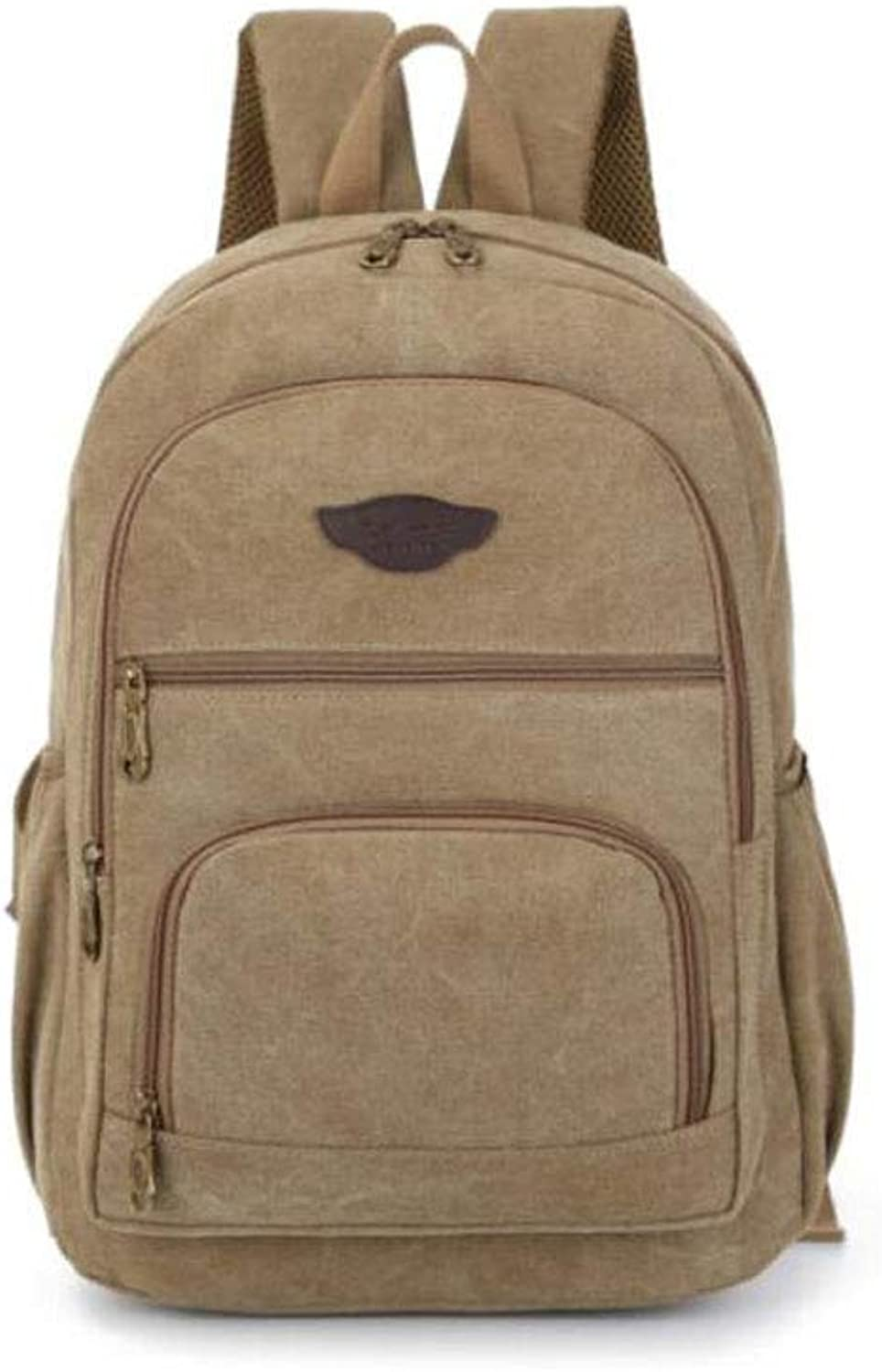 HENG LargeCapacity Sports and Leisure Canvas Backpack, Brown for Hiking, Traveling & Camping (color   Khaki)