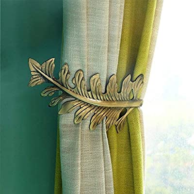 QIQIHOME European 1Pair Big Leaf Curtain Tiebacks Curtain Holdbacks Decorative Wall Hooks Hanger for Drapes Linen Holder Window Treatment Hardware,Set of 2 (Bronze)