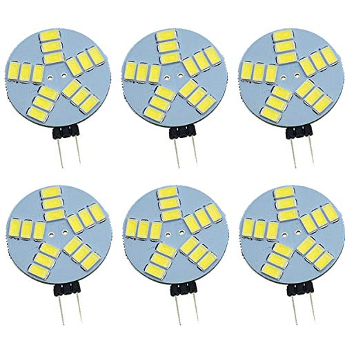 Pocketman Dimbar G4 LED-glödlampor, DC 12 V rund G4 spotlight-lampa, 1,5 W 240 LM, 10 W halogen glödlampbyte, 120°belysning, kallvit, 6-pack