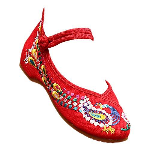 BOZEVON Neue Damen bestickte Flache Trainer - Damen Sneaker Slip Schuhe, Rot, CN41 (Fußlänge: 25.5cm) Frauen