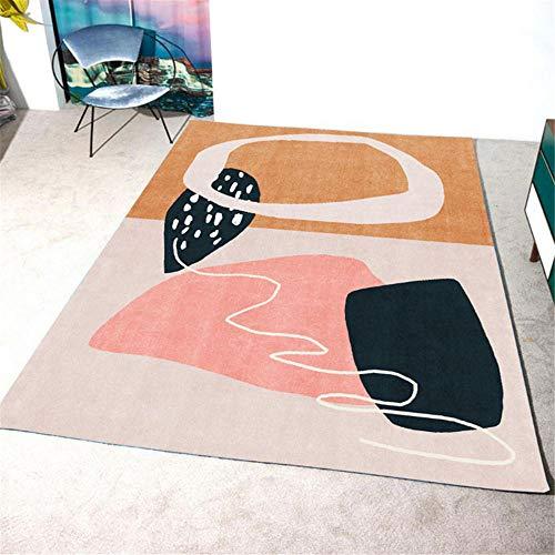 Kunsen alfombras para bebé alfombras Exterior terraza Alfombra para habitación Infantil Rectangular Rosa Naranja Suave Lavable a máquina alfombras Salon Grandes 60X90CM 1ft 11.6' X2ft 11.4'