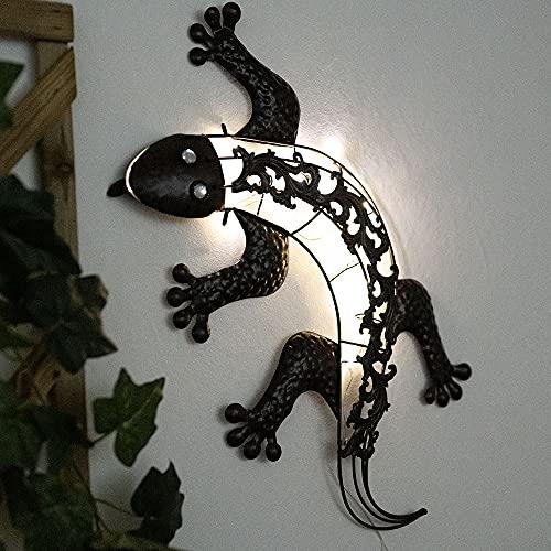 LED Außen Solar Wand Leuchte Gecko Design Erdspieß Garten Deko Terrassen Lampe