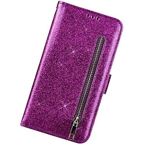 Funda Compatible con Samsung Galaxy S9 Plus,Cárcasa Cuero Brillo Brillante Purpurinas Diseño Cremallera Ranuras para Tarjetas Case Cartera PU Flip Soporte Plegable Cierre Magnético Pulsera,Púrpura