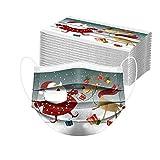 Bumplebee 50 Stück Damen Herren Mundschutz mit Motiv Weihnachten Bunt MNS Mund und Nasenschutz Elch Druck Maske Tücher Atmungsaktiv Mund-Tuch Bandana Halstuch Schals