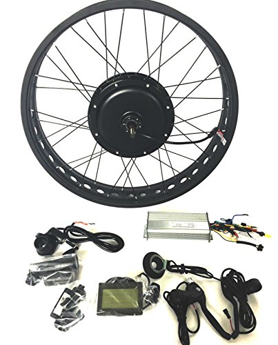 theebikemotor 48V1000W Hub Motor Electric Bike Conversion Kit 4.0 Fat Rim + LCD + Tire (Rear Wheel, 26' x 4.0)
