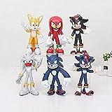 Sonic Figure Toys 6pcs / Lot Figurines Toy Súper Sonic Hedgehog Sonic Shadow Tails Nudillos PVC Figu...
