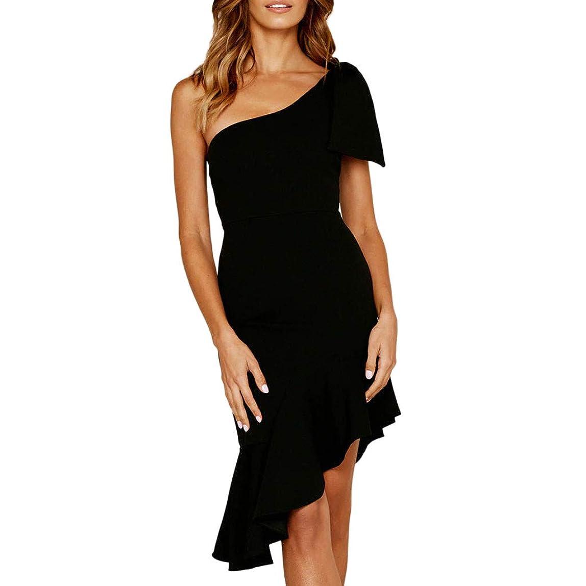 Women Sexy Ruffles Sleeveless Off Shoulder Dress Evening Party Dress Sexy Sloping Shoulder Ruffled Irregular Dress xuwthjj617824