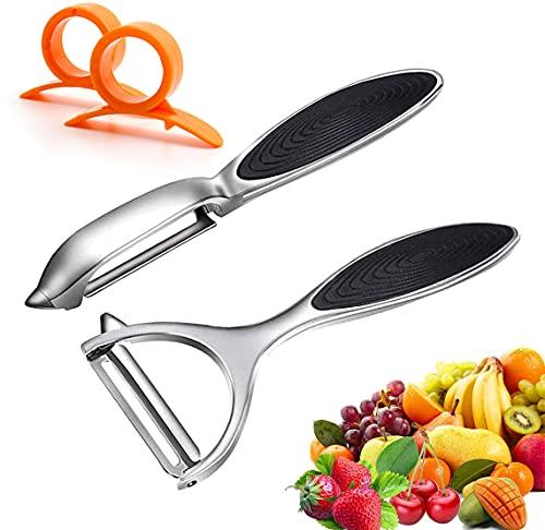 Leaflai peladores, 2 peladores de acero inoxidable prémium en forma de Y, pelador giratorio con hoja afilada y mango antideslizante, pelador de patatas y verduras, para tomates, zanahorias, frutas