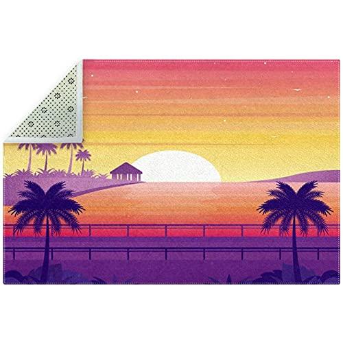 Sunset Palm - Alfombra antideslizante para el suelo, color morado