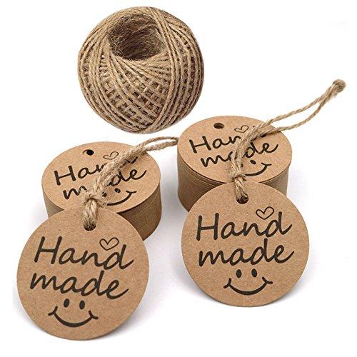 Etiquetas de regalo hechas a mano de 5 cm, 100 piezas de...