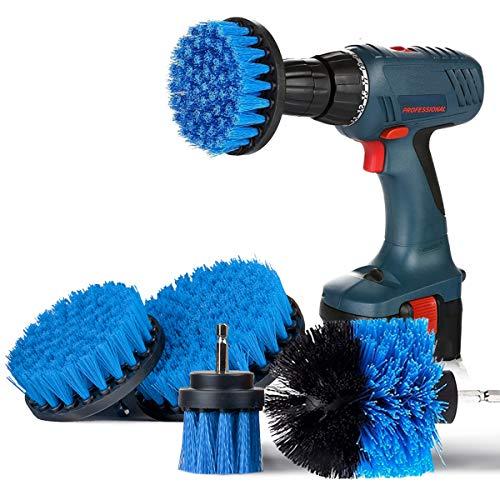 SAFETYON Bürstenaufsatz Bohrmaschine Set 4 Stück, Bürste für Akkuschrauber 2''/ 3.5''/ 4''/ 5'' Akkubohrmaschine Befestigung Reinigungsbürste Bohrerbürsten für Badwanne Fliesen Bodenbelag Küche Blau