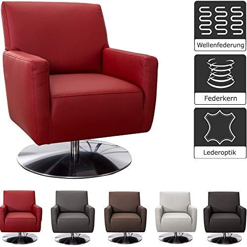 CAVADORE Drehsessel Barney / Drehbarer Ledersessel mit Armlehnen und Federkern / 68 x 84 x 71 / Lederimitat, rot