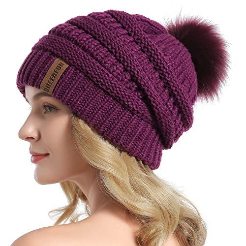 QUEENFUR Women Knit Slouchy Beanie Chunky Baggy Hat with Faux Fur Pompom Winter Soft Warm Ski Cap,