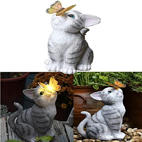 FgyFSAs Luz Solar De La Mariposa De Las Estatuas del Gato, Luces Led Solares, Figura Linda Mariposa Gato, Estatua De Resina DecoracióN De Arte De JardíN, Luces Decorativas Al Aire Libre
