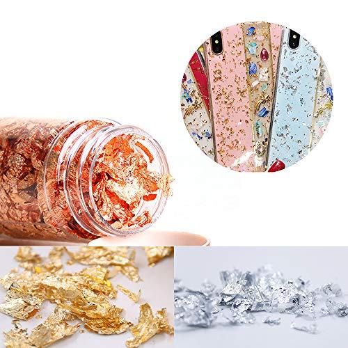 BESTINE Copos de Lámina de Oro, 3 Botellas de Metal Hechas a Mano de Color Dorado Hojas de Oro, Imitación, Láminas de Lámina de Plata para Pintar, Artesanías de Oro, Uñas, Decoración