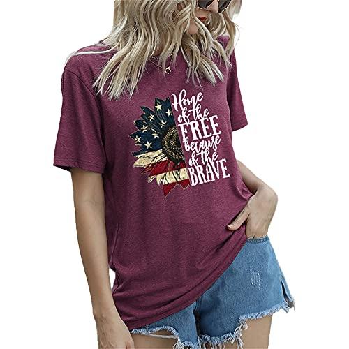 Mayntop Camiseta de manga corta para mujer con diseño de bandera de Estados Unidos, 4 de julio, B-Vino, 36