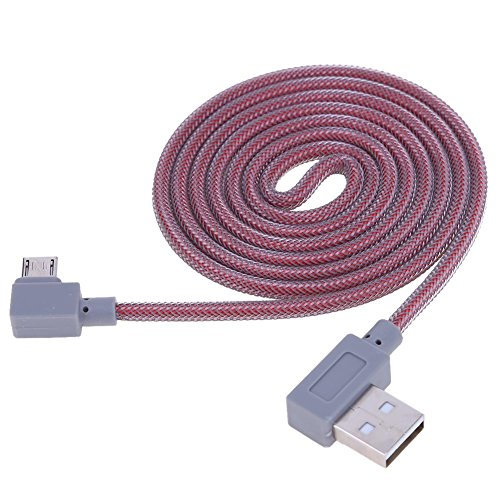 Domybest geflochtenes Doppel-Verbindungsstück-Kabel, Lade-Daten-Synchronisierungskabel, Micro USB, 90°, für Android rot