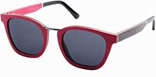 LUKEEXIN Romantic Handmade Women's Wooden Frame Sunglasses Cat Eyes Polarized TAC Lens UV Protection Driving Fishing Beach Outdoor Sunglasses (Color : Red)