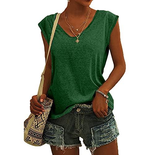 FMYONF Camiseta de tirantes para mujer, de un solo color, para verano, informal, cuello en V, mangas de alas verde L