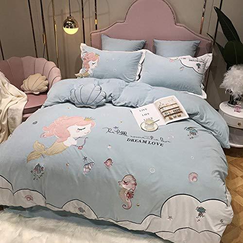 Individual Funda de edredón y Funda-Franela gruesa de dibujos animados más ropa de cama de plumón cama individual funda nórdica tamaño king funda de almohada regalo-QQ_Cama de 2,0 m (4 piezas)