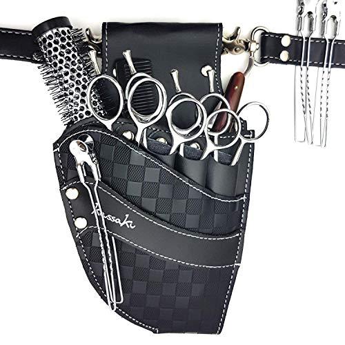 Kassaki - Sacca porta-forbici e strumenti da parrucchiere con cintura e motivo a scacchi neri, edizione limitata