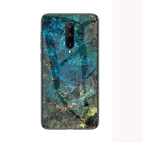 SHIEID Oneplus 7 Pro Hülle,Marmor Gehärtetem Glas und Silikon Rand Hybrid Hardcase Stoßfest Kratzfest Handyhülle Dünn Hülle Cover für Oneplus 7 Pro (Blau)