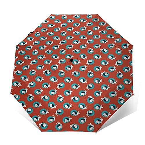 Paraguas Plegable Automático Impermeable Perros 970, Paraguas De Viaje Compacto A Prueba De Viento, Folding Umbrella, Dosel Reforzado, Mango Ergonómico