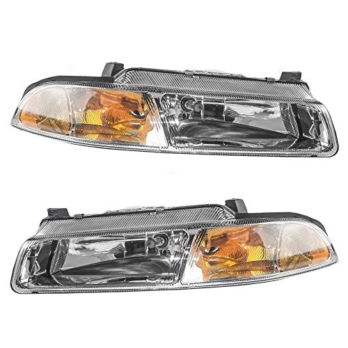 Replacement Set Halogen Headlights with Improved Beam Pattern Compatible with 1995-2000 Stratus Breeze Cirrus 4630873AB 4630872AB