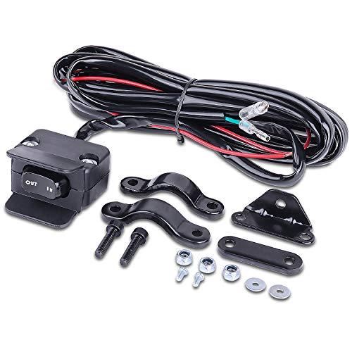 LIEBMAYA 12V Winch Rocker Thumb Switch with Mounting Bracket Handlebar Control line kit for ATV UTV