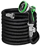 EVYNEED 100ft Expandable Garden Hose with Spray Nozzle, Lightweight Durable Water Hose, Flexible Kink Free Hose with 3/4 Inch Solid Nickel-Plated Fittings and Expanding Double Latex Core