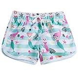 Idgreatim - Pantalones cortos para niña (cortos, de secado rápido) Marfil Blanco-sirena 6 Años