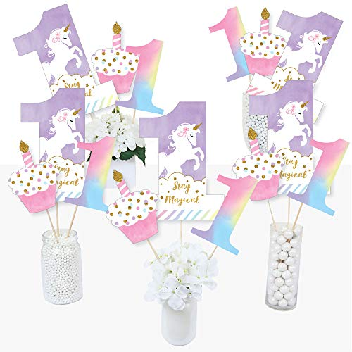 1st Birthday Rainbow Unicorn - Magical Unicorn First Birthday Party Centerpiece Sticks - Table Toppers - Set of 15