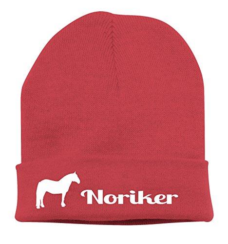 Siviwonder Strickmütze Pferde - NORIKER Reitpferd Kutschpferd - Stickerei Pferd Winter Mütze Wintermütze Beanie Mütze rot-Weiss