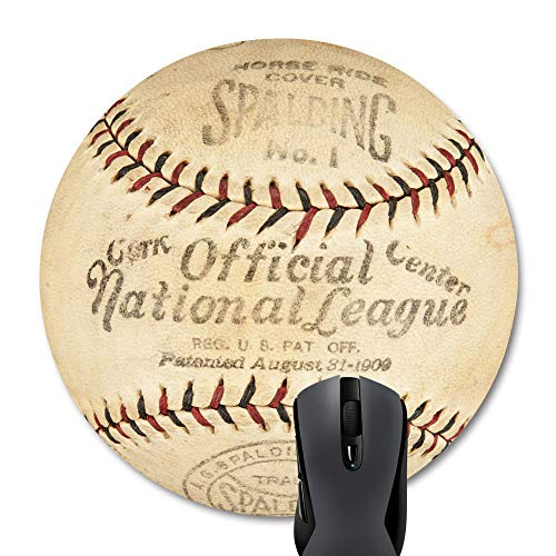 Wknoon Round Mouse Pad Vintage Commemorative Design, Retro Baseball