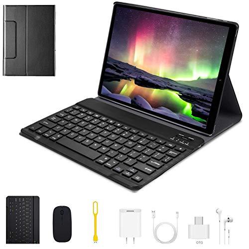 Tablet 10 Pulgadas 4G WiFi Android 9.0 Tablets 4GB RAM 64GB ROM/Expandido 128G 8 5MP Dual Cámara 4G Dual SIM Batería 8000mAh 4G Type-C Tablet con Mouse y Teclado