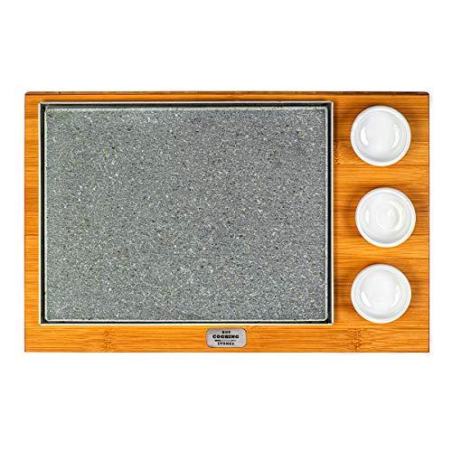 BASIC Lavasteinplatte 20 x 25 mit 3 Schüsseln, geeignet zum direkten Kochen auf dem Tisch