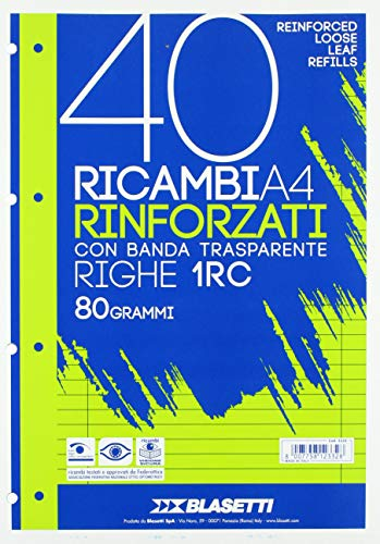 Blasetti 2332 40 Ricambi Rinforzati con banda transparente, A4, Righe 1RC, 40 fogli da 80 gr