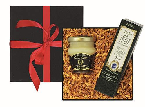 Geschenk-Set: 1 Flasche Olivenöl mit schwarzem Trüffel Aroma 55 ml, 1 Glas Trüffelbutter mit weißem Frühlingstrüffel 45 g