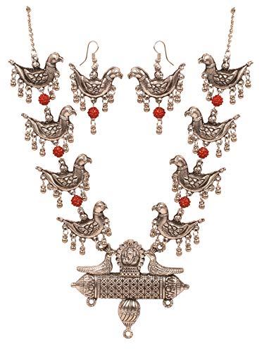Touchstone 'Indian Oxidized Jewelry Ganesha Deity Figurative Mythical Bird Inspired Faux Rudraksha Designer Jewelry Necklace Set in Oxidized Silver Tone for Women.