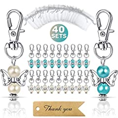"""【WHAT YOU GET】40 Angel charms(5.2cm/2'') + 40 organza gift bags(7cm*9cm/2.7''*3.5"""") + 40 thank you kraft tags(7cm*2cm/2.7''*0.8""""), never miss it. 【PREMIUM QUALITY】The keyring pendant made of blue and ivory color pearl, sturdy and durable kraft paper,..."""