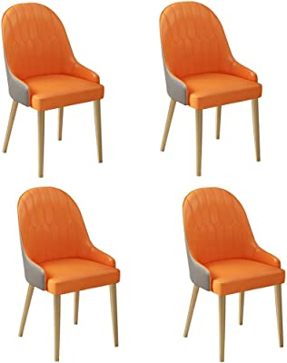 FETYDSE Set of 4 Modern PU Leather High Back Padded Soft Seat Dining Chairs with Armrests Metal Legs for Dining Living Room Chairs (Color : Orange)