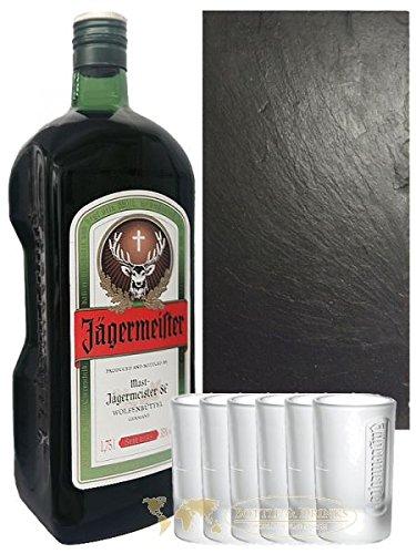 Jägermeister SET 1 x 1,75 Liter + 6 x 4cl Frozen Club Shot Gläser + 1 x Schiefer Servierplatte