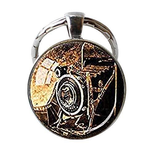 Llavero de cámara antigua, cámara de fuelle de fotógrafo