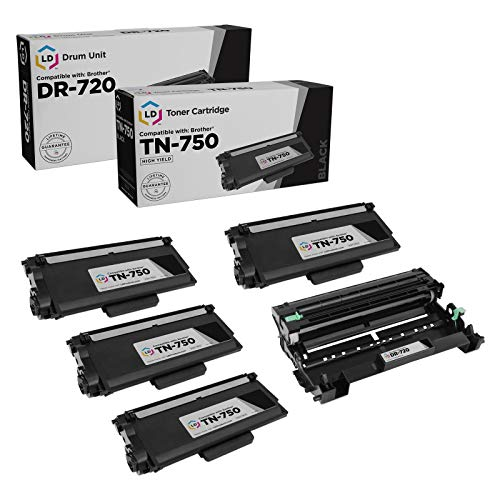 LD Compatible Toner Cartridge & Drum Unit Replacements for Brother TN750 High Yield & DR720 (4 Toners, 1 Drum, 5-Pack)