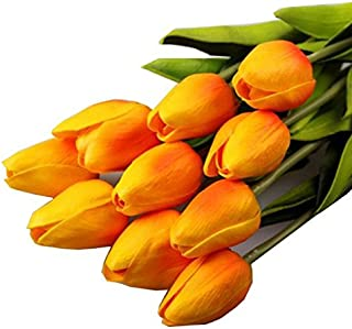Decoración Artificial casera del Ramo Nupcial de la Boda del Tacto Real del látex de la Flor del tulipán 10pcs Flor Artificial Decorativa Falsa tulipán Ramo de Flores Artificiales de plástico Jodier