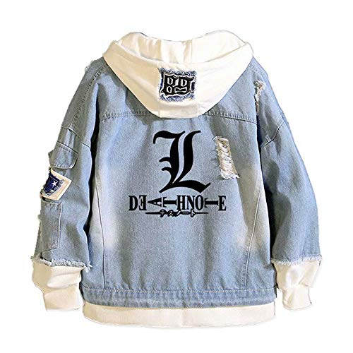 Meifang Anime Death Note Hoodie Jacket Unisex Casual Denim Sweatshirt Pullover Ripped Slim Denim Jacket with Holes