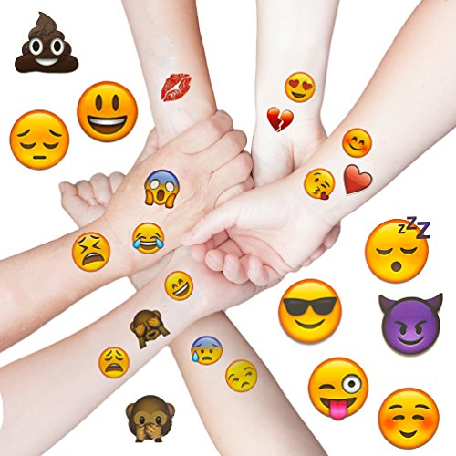 Oblique Unique® Emoji Sticker Temporäre Tattoos 48 Stück Aufkleber XXL Emoticons